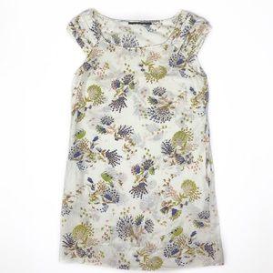 Zara Linen Dress w/ Pockets Floral/Bird Print S